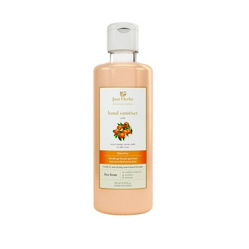 Just Herbs Hand Sanitiser Liquid with Sweet Orange Neem Tulsi and Aloe Vera