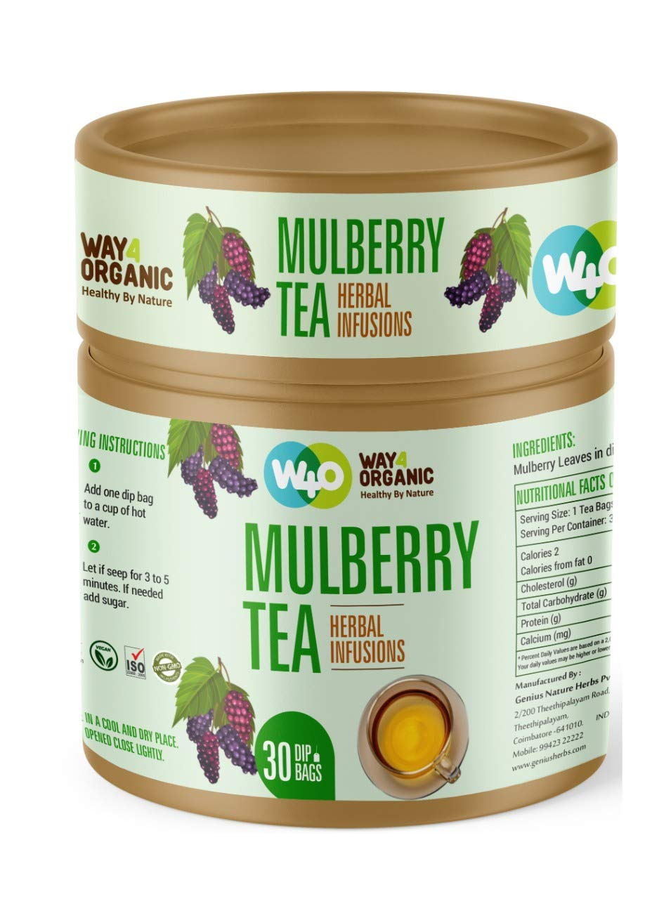 Way4Organic Mulberry Tea in Dip Bags
