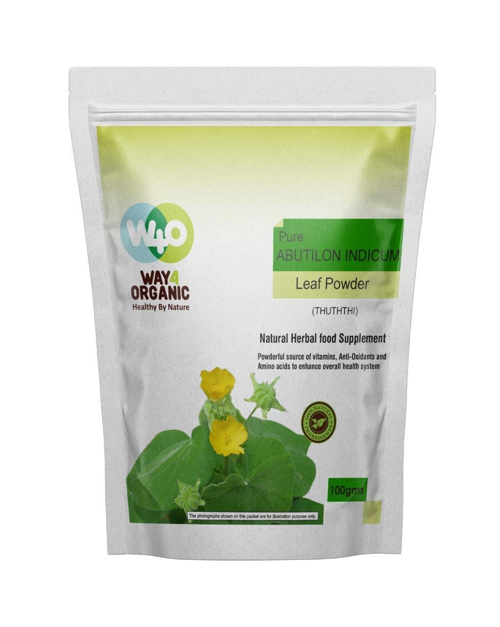 Way4Organic Pure Thuththi Leaf Powder Atibala Powder Abutilon Indicum Leaf Powder