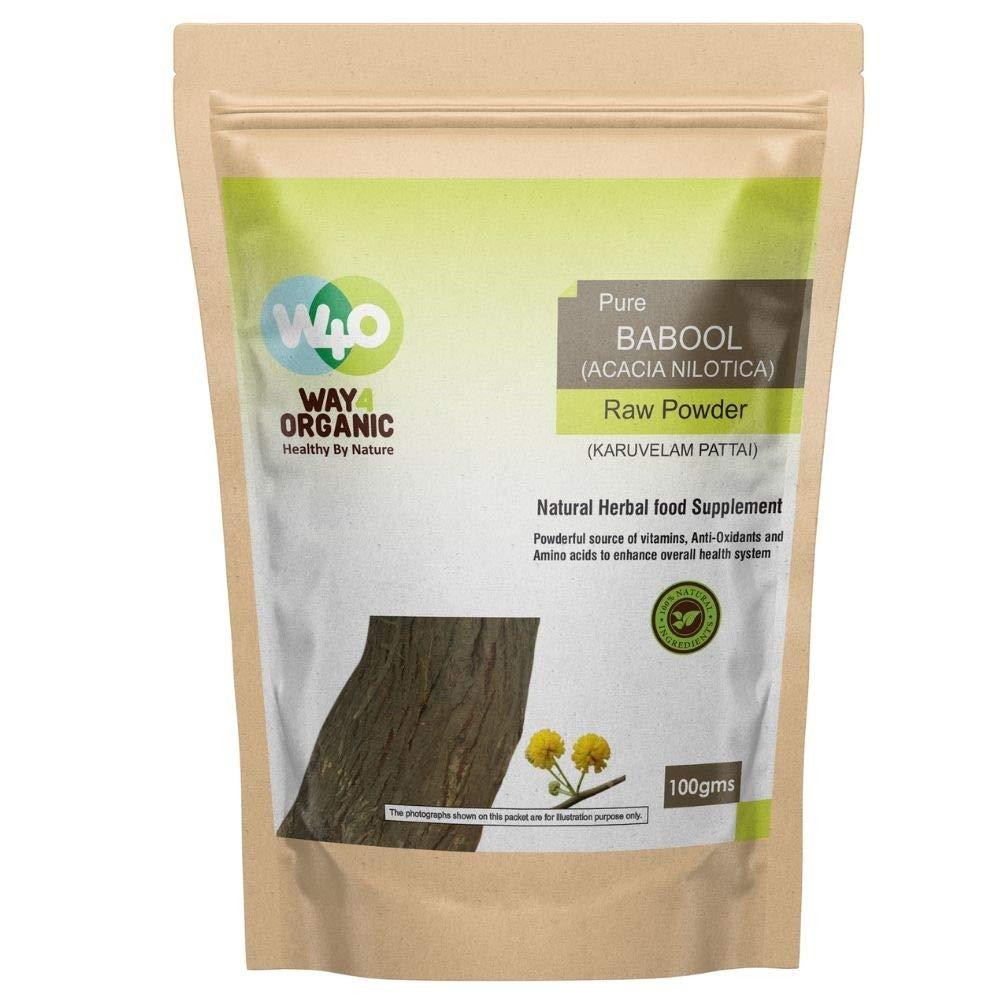 Way4Organic Pure Karuvelam Pattai Powder Babool Acacia Nilotica Raw Powder